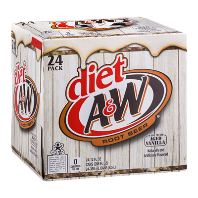 Diet A & W Root Beer - 24 CT