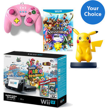 Nintendo Wii U Super Smash Bros Mega Bundle with Extra Fight Pad Controller and Choice of Amiibo Character