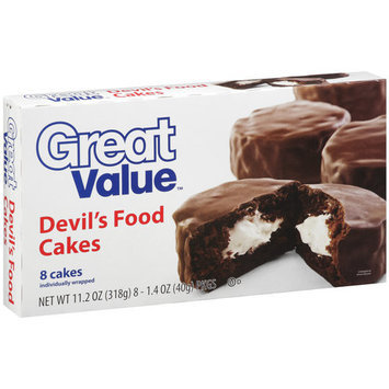 Great Value Devil's Food Cakes, 8 count