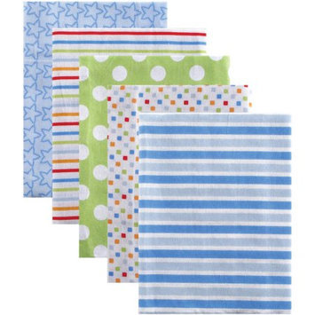 Luvable Friends 5 Pack Flannel Receiving Blankets - Blue