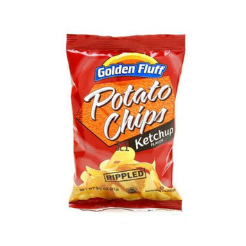 Golden Fluff 51701 Small Ketchup Rippled Potato Chips Case of 48 x .75 oz