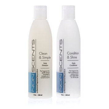 Nonscents Shampoo and Conditioner Set-Truly Unscented & Fragrance-Free. Great Lather!- No Allergy Causing Fragrances Added-Best Salon Quality- Beautifully Moisturizes= No Dry Hair! Good on All Hair Types, Even Colored! Buy the Set and Save Money.