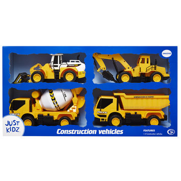 Justin Products Inc. 4-pk Construction Vehicles