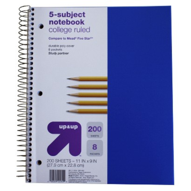 up & up Up & Up 200ct 5-Subject College Ruled Notebook