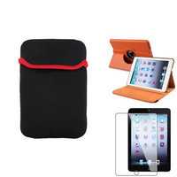 Insten iPad Mini 3/2/1 Case, by INSTEN Orange 360 Leather Case Cover+LCD Protector+Pouch for iPad Mini 3 2 1