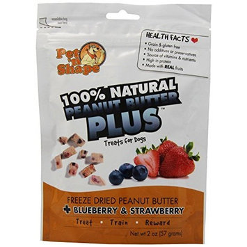 Pet N' Shape Pet 'N Shape - Petventures DPH50102 Freeze Dried Peanut Butter Plus Dog Treat with Blueberry and Strawberry, 2-Ounce