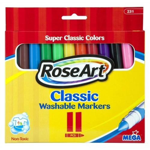 Rose Art RoseArt Classic Washable Broadline Markers, 11-Count, Packaging May Vary (231VA-24)