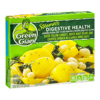 Green Giant Steamers Digestive Health Sliced Yellow Carrots, White Navy Beans and Chopped Spinach in a Garlic Herb Sauce