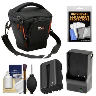 Vidpro TL-25 Top-Load DSLR Camera Holster Case (Small) with NP-FM500H Battery & Charger + Accessory Kit for Sony Alpha DSLR SLT-A57, A65, A77, A99