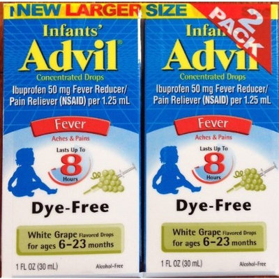 Infants' Advil Pain and Fever White Grape Flavored Concentrated Drops 1 Fl. Oz (Pack of 2)