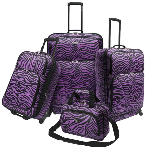 Traveler's Choice U.S. Traveler U.S. Traveler Fashion 4 piece Spinner Luggage Set, Purple Zebra Print - TRAVELER'S CHOICE