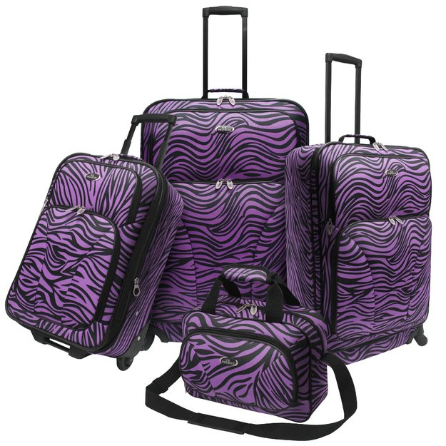 Traveler's Choice U.S. Traveler U.S. Traveler Fashion 4 piece Spinner Luggage Set, Purple Zebra Print - TRAVELER'S CHOICE
