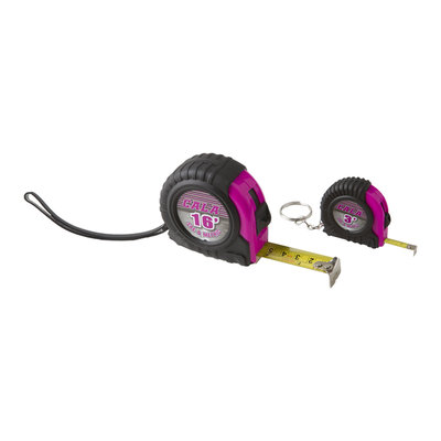 David Shaw Silverware Na Ltd Cala Pink 2 Piece Tape Measure Set - David Shaw Silverware NA LTD