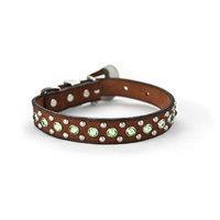 Zuri Collection 092145348406 Brown Leather Collar, Green Swarovski Crystal Small