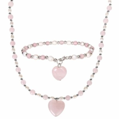Amour Silver Gemstone & Pearl Bracelet & Necklace set, Silver, Pink, White, 1 ea