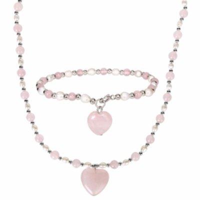 Amour Silver Gemstone & Pearl Bracelet & Necklace set, Silver, Pink, White, 1 ea