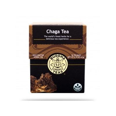 Buddha Teas Chaga 100 Percent Organic Herbal Tea 18 Bags Per Packet