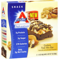 Atkins Advantage Cashew Trail Mix Bars Nutritional Supplement Bars