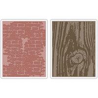 Sizzix Tim Holtz Texture Bricked & Woodgrain Emboss Folders