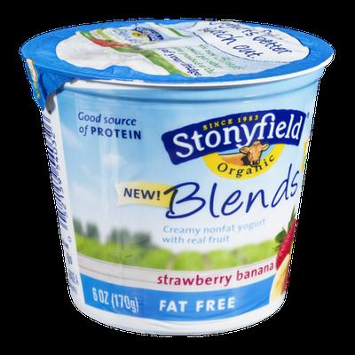 Stonyfield Organic Blends Yogurt Strawberry Banana Fat Free