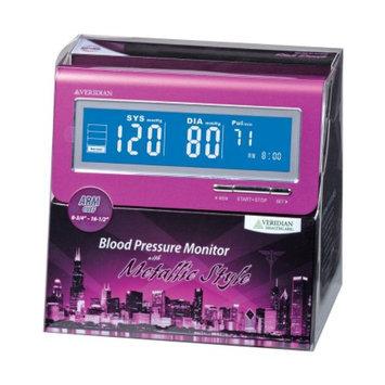 Veridian Healthcare Metallic Style Arm Blood Pressure Monitor, Pink, 1 ea