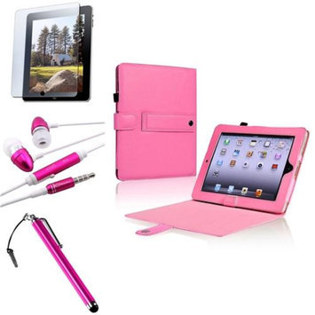 Insten INSTEN 4in1 Pink Leather Case w/ Stand Protector Headset Stylus for Apple iPad 1 1st