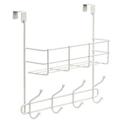 Room Essentials Over-The-Door Basket with Hook Rail White