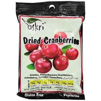 Oskri Organics Oskri Dried Fruit, Cranberries, 3.53-Ounce (Pack of 8)