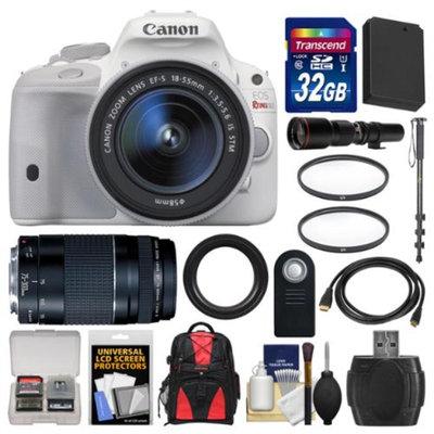 Canon EOS Rebel SL1 Digital SLR Camera & EF-S 18-55mm IS STM Lens (White) with 75-300mm III & 500mm Lenses + 32GB Card + Backpack + Battery + Monopod + Kit