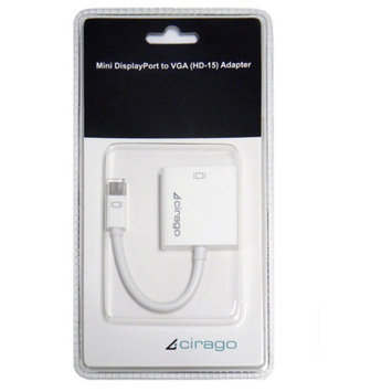 Cirago Mini DisplayPort to VGA Adapter, White
