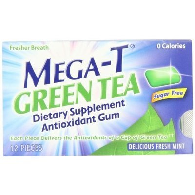Mega-T Green Tea Chewing Gum, Delicious Fresh Mint Flavor, 12 pieces (Pack of 6)