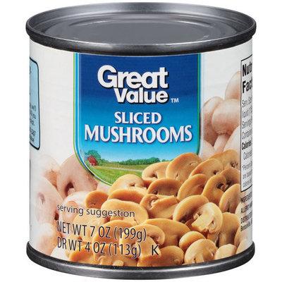 Great Value Sliced Mushrooms, 7 oz