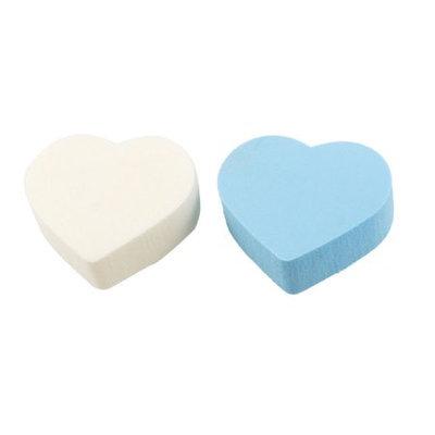 Unique-bargains 2 Pcs Heart Shaped White Blue Makeup Tool Sponge Facial Cleansing Pads