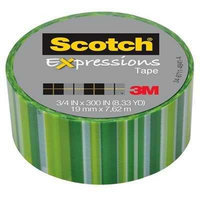 Scotch Expressions Magic Tape, Green Lines Pattern, 3/4&quot x 300&quot
