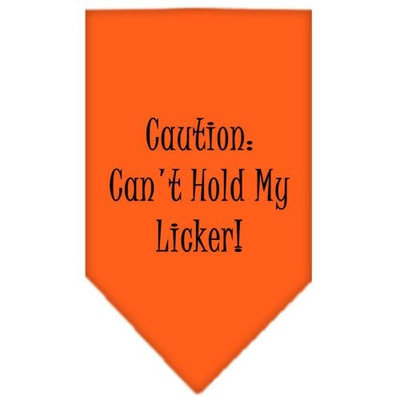 Mirage Pet Products 6623 LGOR Cant Hold My Licker Screen Print Bandana Orange Large