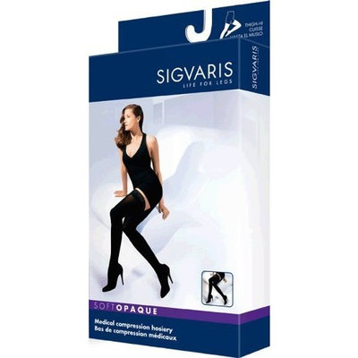 Sigvaris 842N Soft Opaque 20-30 mmHg Closed Toe Thigh Highs Size: Medium Short (MS), Color: Midnight Blue 09