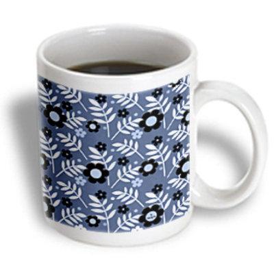 Recaro North 3dRose - Doreen Erhardt Contemporary Designs - Retro Flower Power in Shades of Blue - 11 oz mug