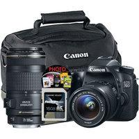 Canon Black EOS 70D Digital SLR Camera with 20.2 Megapixels, EF-S 18-55mm Standard Lens and EF 70-300mm Telephoto Lens Included
