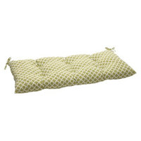 Pillow Perfect Outdoor Tufted Bench/Loveseat/Swing Cushion - Green/White Geometric