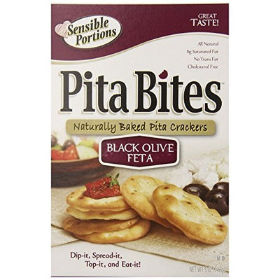 Sensible Portions Pita Crackers, Black Olive & Feta, 5 Ounce Box (Pack of 12)