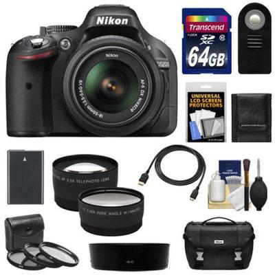 Nikon D5200 Digital SLR Camera & 18-55mm G VR DX AF-S Zoom Lens (Black) with 64GB Card + Battery + Case + 3 Filters + Tele/Wide Lenses + Remote + HDMI Cable + Accessory Kit