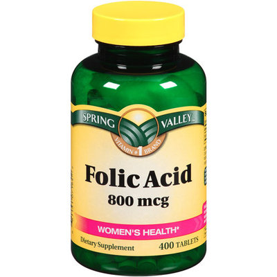 Spring Valley Folic Acid Dietary Supplement Tablets, 800mcg, 400 count