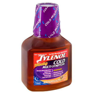 Tylenol® Cold Multi Symptom Warming Honey Lemon Nighttime Pain Reliever Liquid