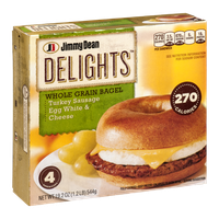 Jimmy Dean Delights Whole Grain Bagel Turkey Sausage Egg White & Cheese Sandwiches - 4 CT
