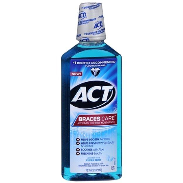 ACT Braces Care Anticavity Fluoride Mouthwash with Xylitol, Mint, 18 fl oz