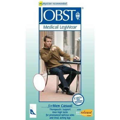 Jobst Men's 20-30 mmHg Firm Casual Knee High Support Sock Size: Large Full Calf, Color: Khaki