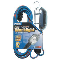 Prime Wire TL020625 Arctic Blue All-Weather 16/3 SJEOW Metal Guard Work Light With Ou