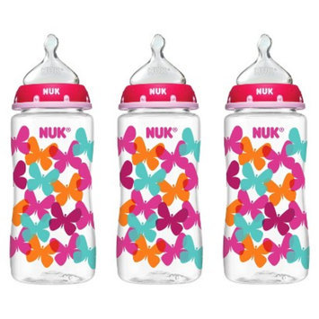 NUK TRENDLINE Medium Flow 10 oz Orthodontic Bottles - Butterflies (3