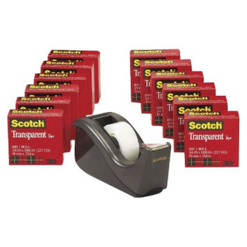 Scotch Transparent Tape Dispenser Value Pack, 1