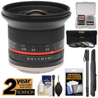 Rokinon 12mm f/2.0 Ultra Wide Angle Lens with Ext. Warranty + 3 UV/CPL/ND8 Filters + Monopod Kit for Olympus OM-D, PEN & Panasonic Micro 4/3 Camera